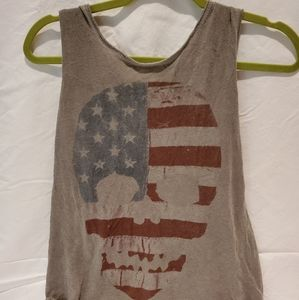 Brandy Melville tank top with American flag skull
